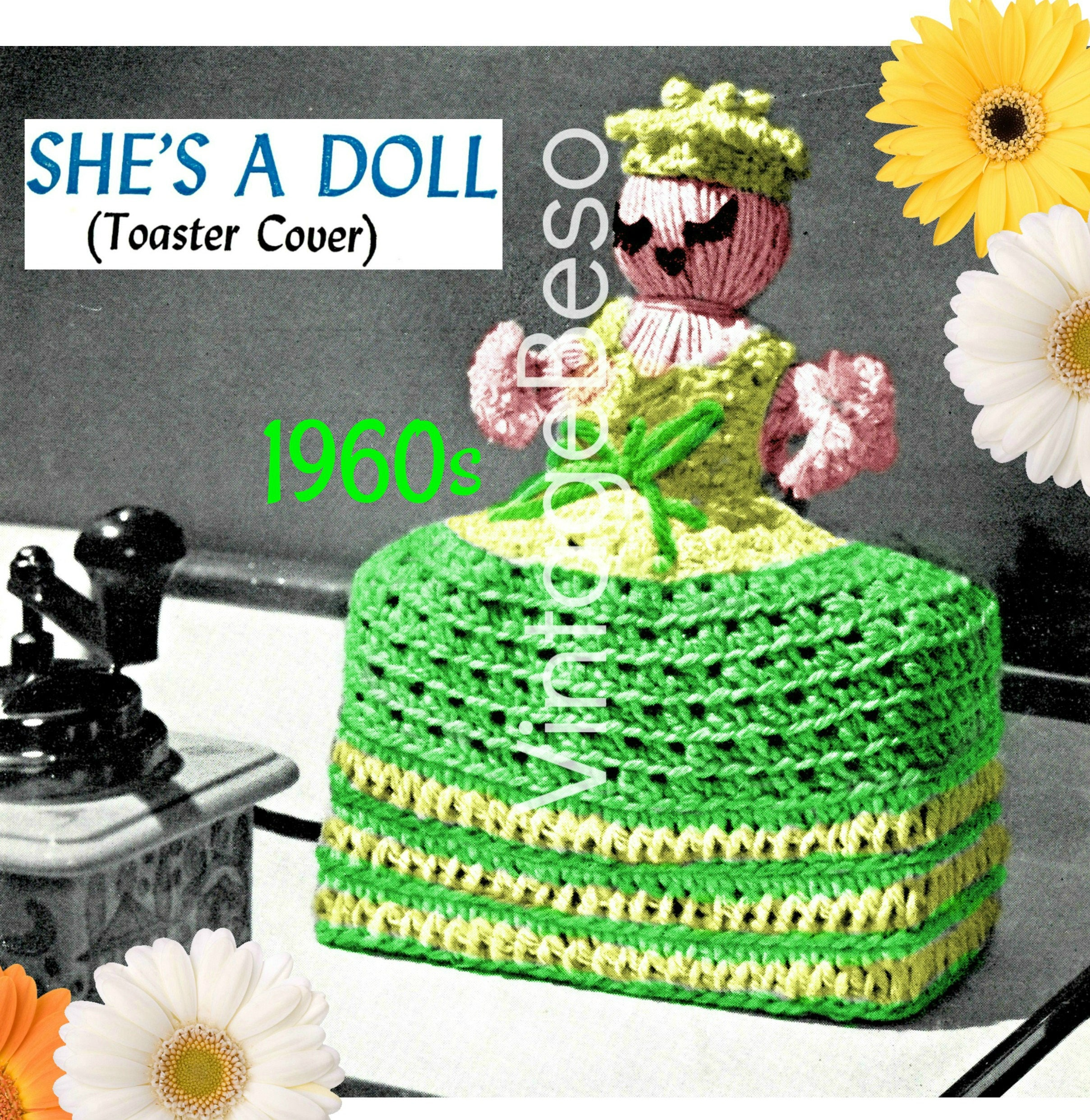 Kitchy Kitchen Decor: Doll Crochet Pattern • Retro 1960s • Toaster Cover