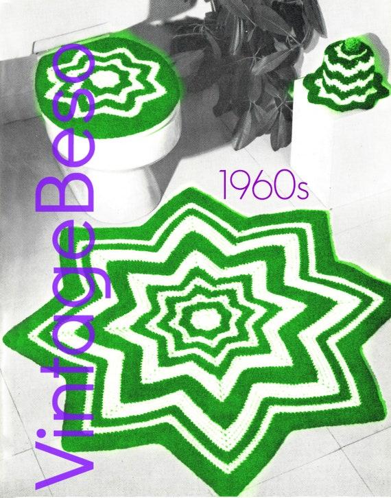 Rug Crochet Pattern + Lid Cover + Toilet Paper Cover • PDF • Retro 1960s  Ripple Bathroom Set • Toilet Seat Lid Cover Crochet Pattern