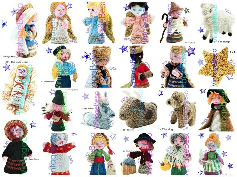 20 Characters Nativity Crochet PATTERN Vintage 1970s Virgin image 0