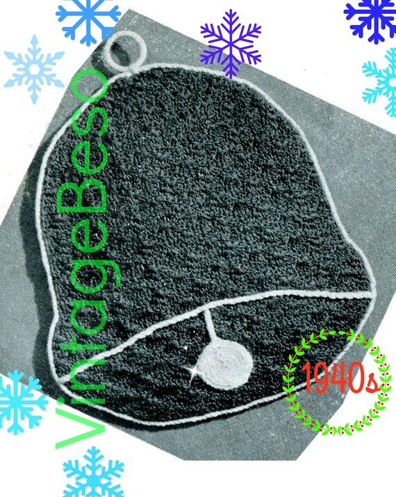 Christmas Bell Potholder CROCHET Pattern • Quick Gift • New Year Wedding • Vintage 1940s • Digital Pattern • Kitchen Supplies • PDF Pattern