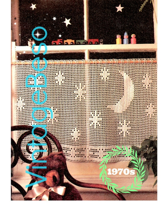 Curtains Crochet Pattern Vintage 1970s Starry with Moon Cafe Retro Night View Privacy Curtain Pattern