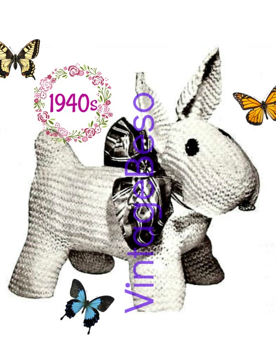 RARE Scottie Dog KNITTING Pattern 1940s Soft Toy Knitting Pattern Dog Knitting Pattern Knitting Pattern Vintage Beso • Watermarked PDF Only