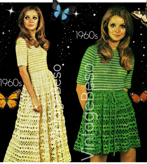 Dress Crochet Pattern Vintage 1960s • You Decide if Long or Short •  Summer Wear is a Boho Beauty Maxi or Mini Dress • Watermarked PDF Only