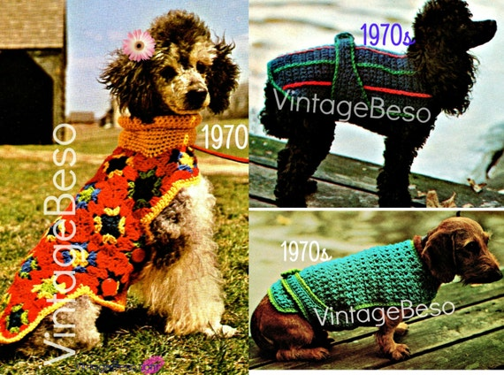 Get ALL 3! • EASY • Dog Sweater Crochet Pattern • Dog Jacket • Dog Coat • Dog Sweater • Vintage 70s Patterns Striped • Watermarked PDF Only