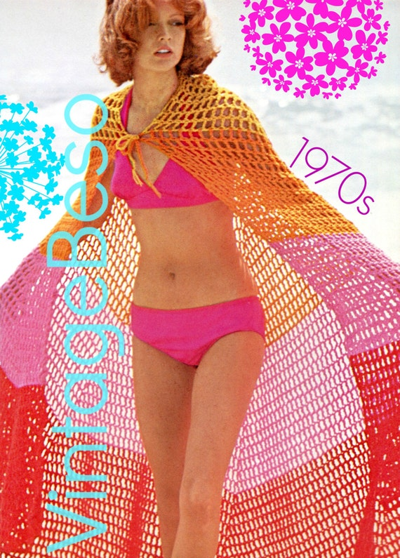 INSTANT DOWNlOAD • PdF Pattern • Cape Crochet Pattern Vintage 70s • Bold Stripe Beach Cape Crochet Pattern • Cover Up Crochet • Clothing
