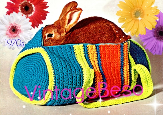 Instant Download • PDF Pattern • Bag Crochet Pattern • 1970s Duffle Bag Crochet Pattern • Satchel • Retro Tote • Digital Download