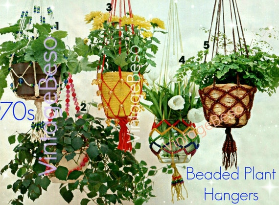 Beaded Plant Hanger Pattern • 5 Macramé Patterns • 1970s Vintage Planters • Lovingly ENLARGED Print Diagrams • Watermarked PDF Only