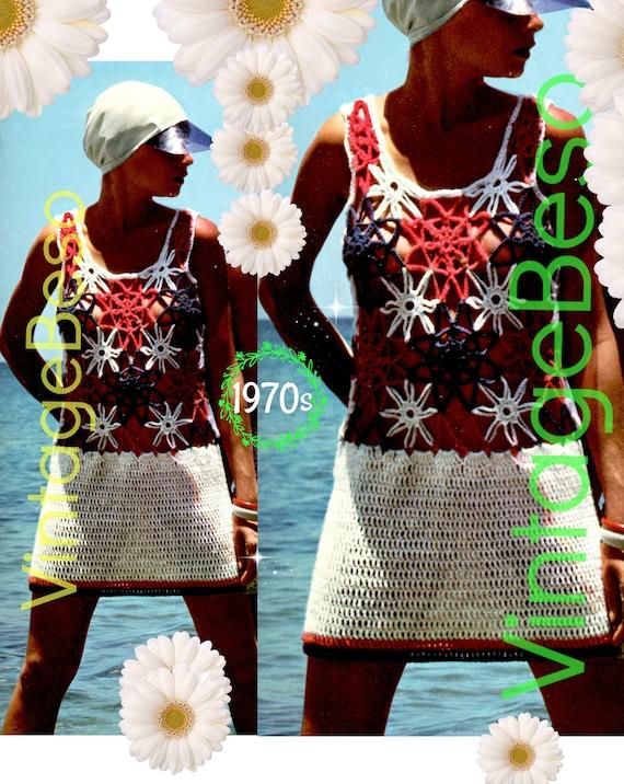 Dress Crochet Pattern • 1970s Peekaboo Dress Crochet Pattern • Sun Dress • Beach • Flower Dress • Summer Wear • INSTANT Download • PDF