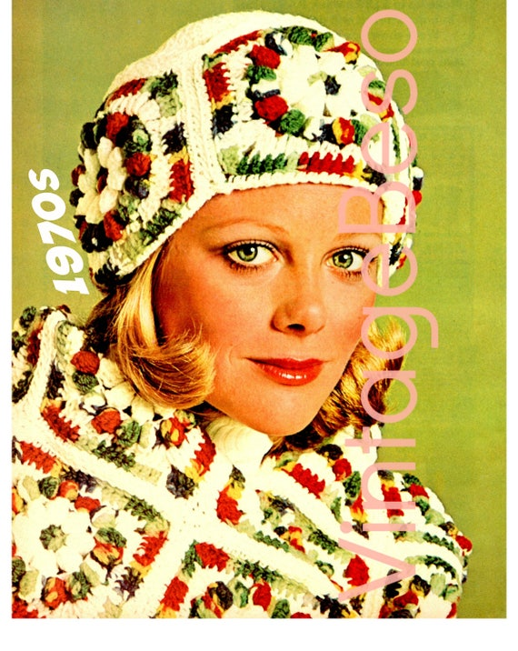 EASY Crochet Pattern • Granny Square Crochet Pattern • Retro 1970s Scarf Crochet Pattern + Cap Hat Crochet Pattern • Instant Download • PDF