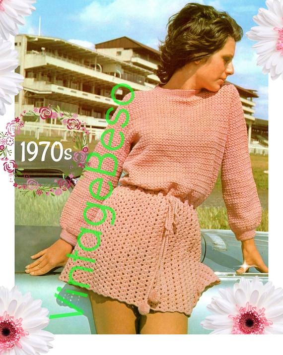 Dress Crochet Pattern • Vintage 1970s Long Sleeve Dress • Pompon Pattern • Waist Tie • UK Crochet Pattern • Watermarked PDF Only