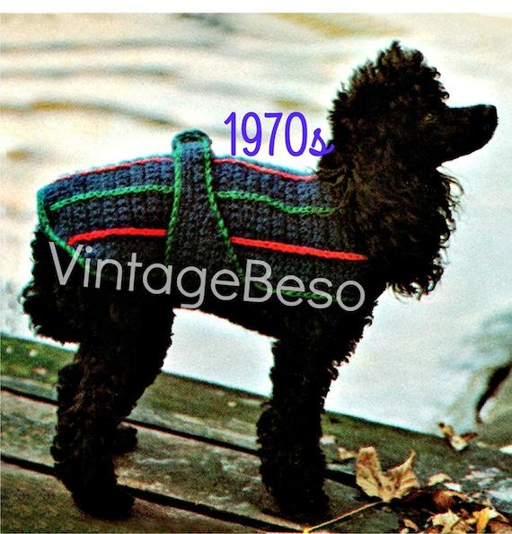 Dog Coat Crochet Pattern Vintage 1970s Sporty Dog Sweater Etsy