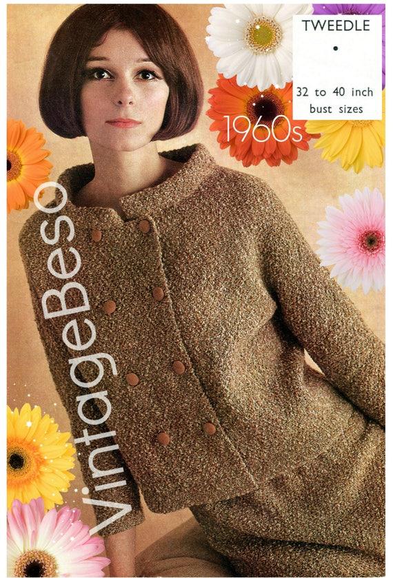 5aed060ead1b Jacket Knitting Pattern 1960s Mod Suit Skirt Vintage Knitting