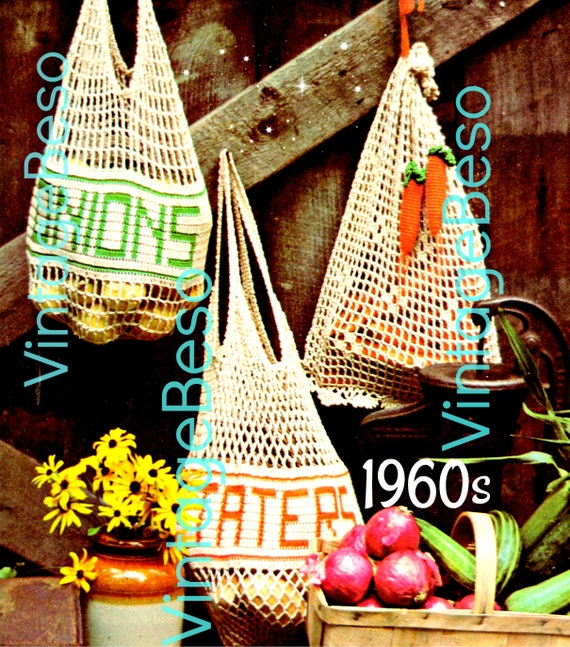 Mesh Produce Market Bags • Crochet PATTERN Vintage • 1970s Vintage Crochet Pattern • Potatoes Onions Carrots Food Bag • Watermarked PDF Only