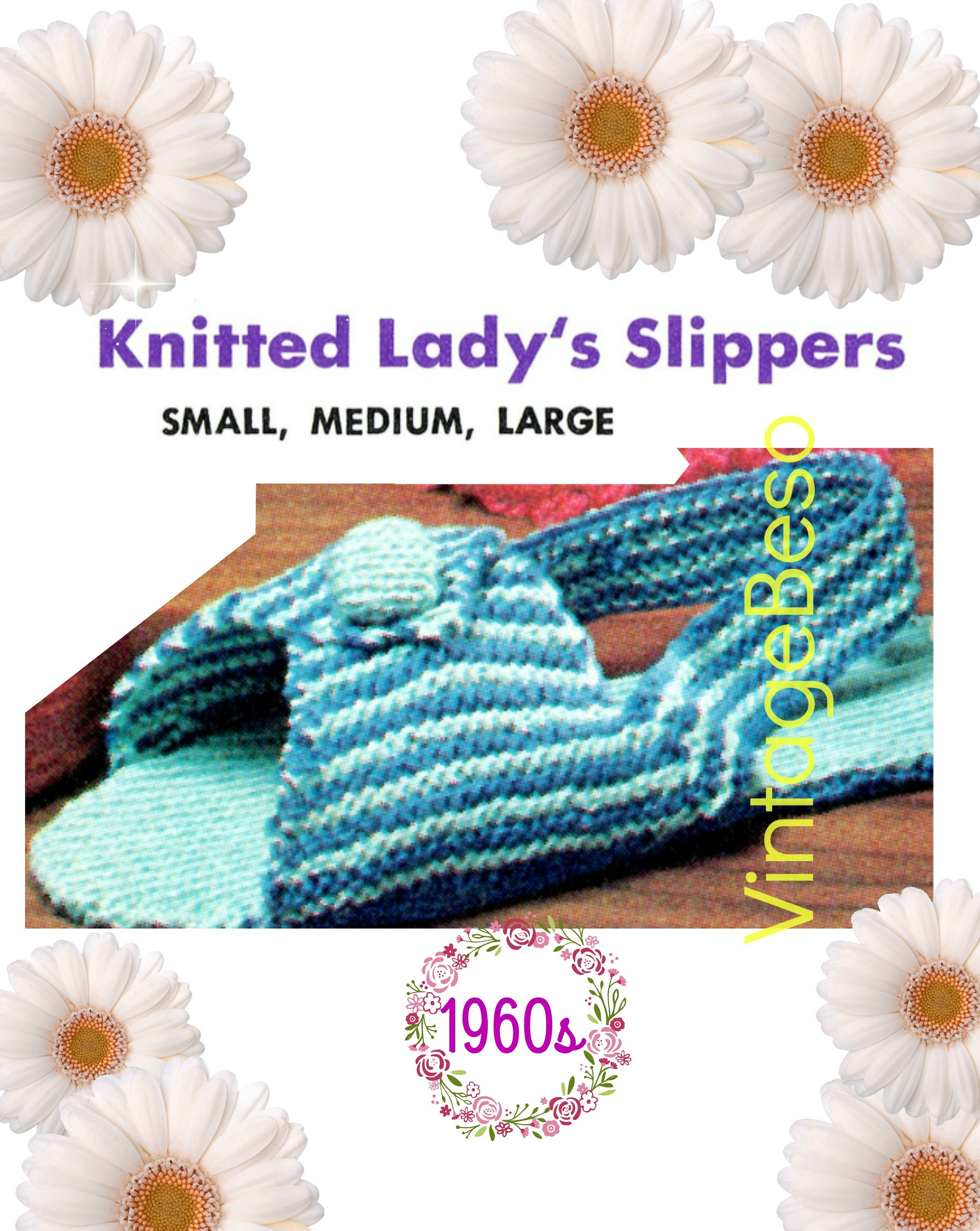 Slippers Knitting Pattern • Woman\'s Slingback Slippers • Knitted ...