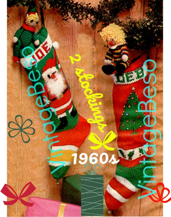 "Instant Download • 2 Patterns • Knit Christmas STOCKING Patterns • Vintage 1960s ""Santa"" Stocking and ""Tree"" Stocking Pattern • Bucilla"