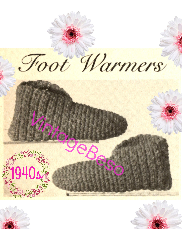 Digital Pattern Slippers Crochet Pattern 1940s Child Slippers