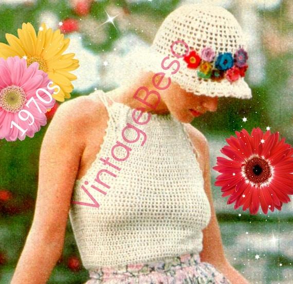 Top Crochet Pattern Vintage + Feminine Hat & Hat Band of Flowers • 70s Halter Top Pattern • Romantic Summer • Watermarked PDF Only