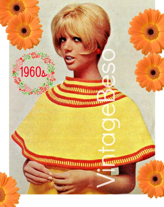 CAPE Knitting Pattern • 1960s Knitting Pattern • Yellow Orange Banded Shoulder Cape • PDF Pattern • Ladies Feminine Short Cape