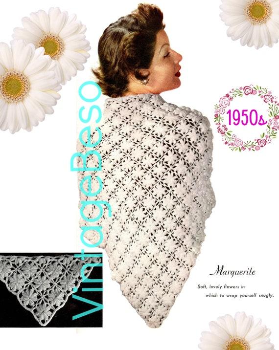 SHAWL Crochet Pattern • 1950s Crochet Pattern • Marguerite • Digital Download • PDF Pattern • Ladies Feminine Wrap • Flowers