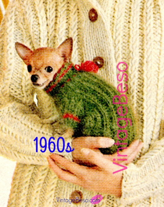 Vintage 1960s Chihuahua Dog Sweater KNITTING Pattern • Knit Turtleneck Clothes Puppy Mod Jacket Love • Watermarked PDF Only