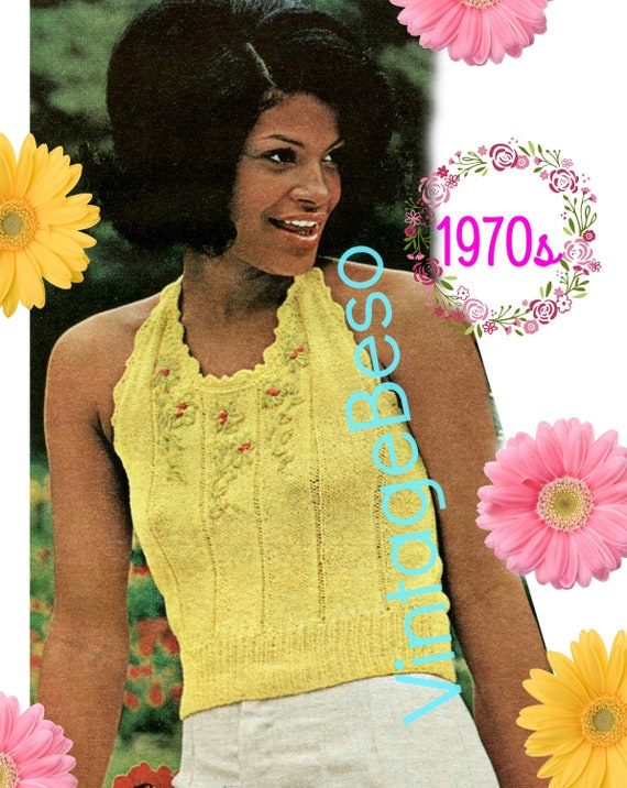 DIGITAL PATTERN • Halter Top KNITTING Pattern • Vintage 1970s • Embroider Flowers Summer Top • Sleeveless • Backless Summer • PdF Pattern