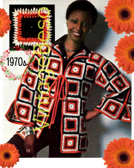 INSTANT DOWNLOAD • Jacket Crochet Pattern • 1970s Boho Granny Square Jacket • PDF Pattern • Sweater Coat Piece Work Crochet Piece by Piece