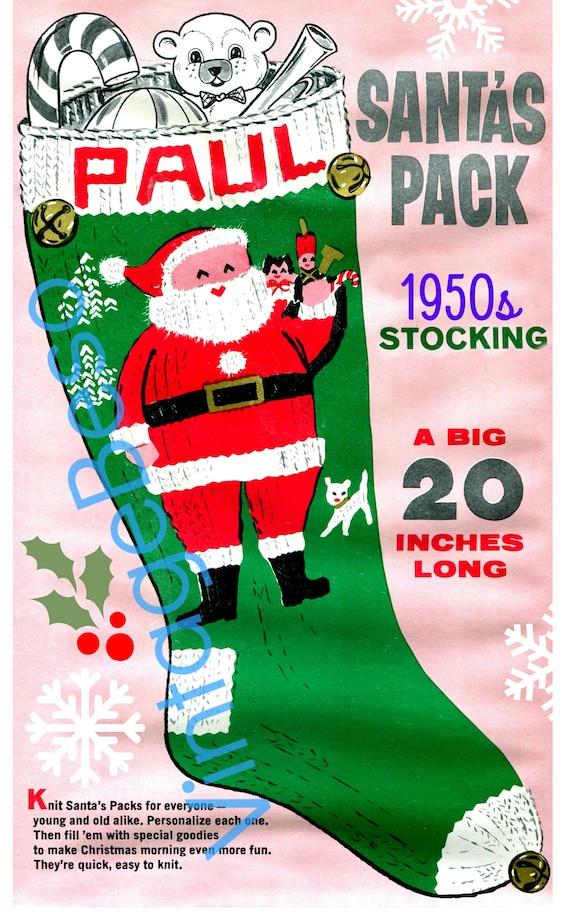 Instant Download • Classic Christmas Knitting Pattern • STOCKING Pattern • Paul • PDF Pattern • 1950s Vintage Pattern • Retro Christmas