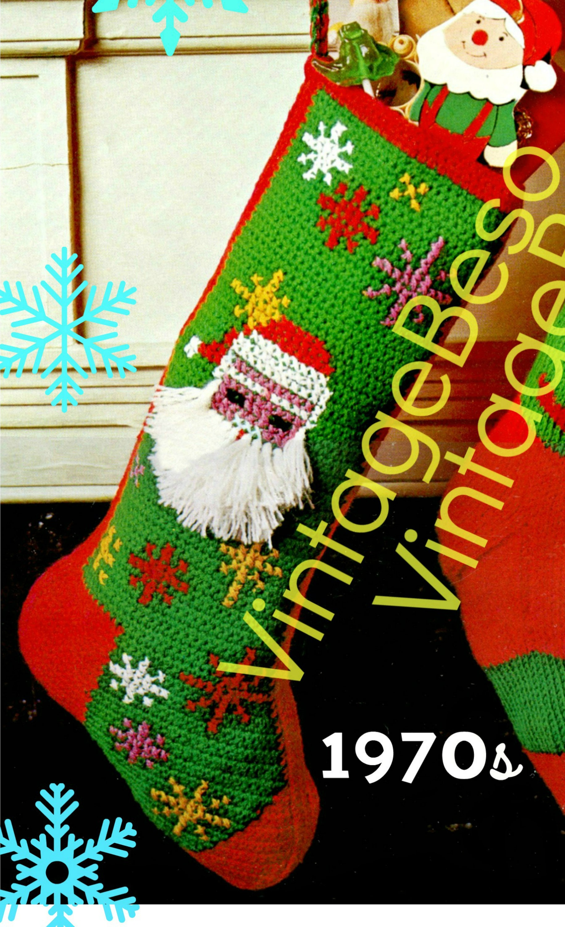 1970'S Christmas Stocking Crochet Pattern Interesting Decorating