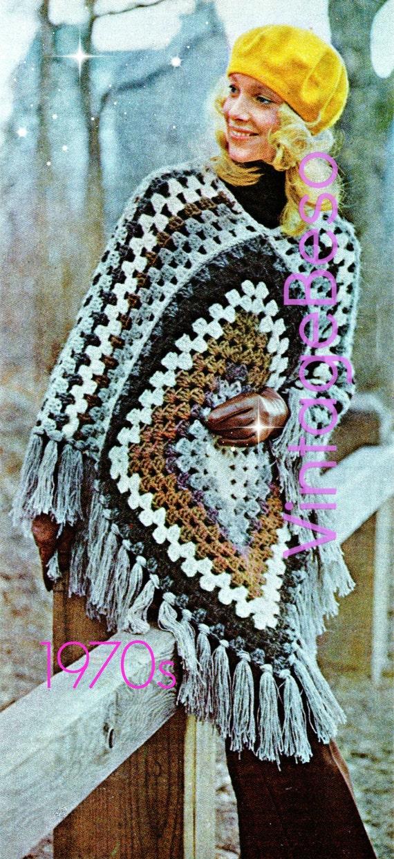 Easy Poncho Crochet Pattern Vintage 1970s Crochet Pattern Etsy