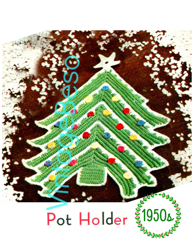 Christmas Tree Potholder Crochet Pattern 1950s Classic Etsy
