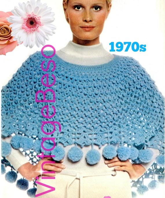 Pom Pom PONCHO 1970s Vintage Crochet PATTERN Vintage Crochet High Low Poncho Pattern • Watermarked PDF Only