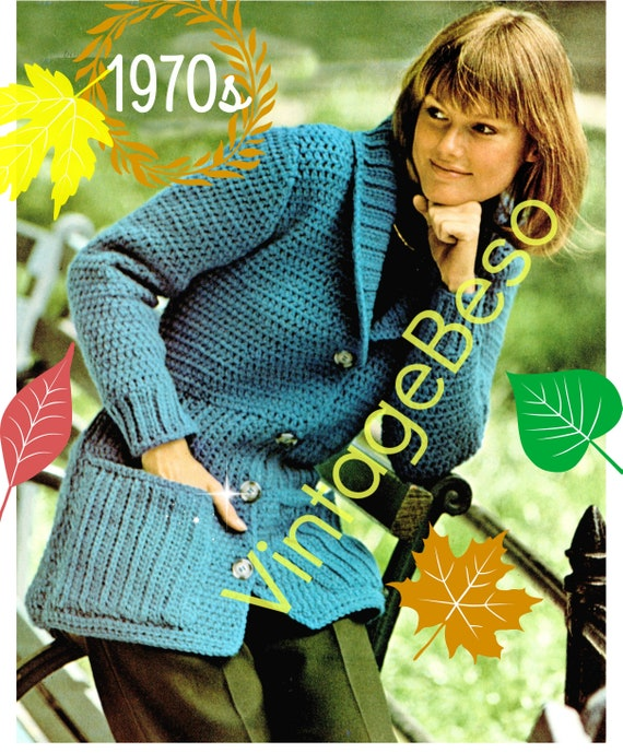 Jacket Crochet Pattern • PdF Pattern • Shawl Collared Jacket is done in Double Crochet • INSTANT DOWNlOAD • Vintage 1970s • Sweater