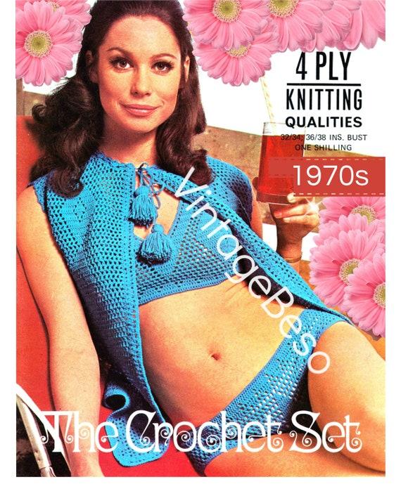 3 Crochet Patterns • Bikini Top Bottom Jacket Set • Diamond Beach • Vintage 1970s Cover Up Crochet Pattern • Watermarked PDF Only