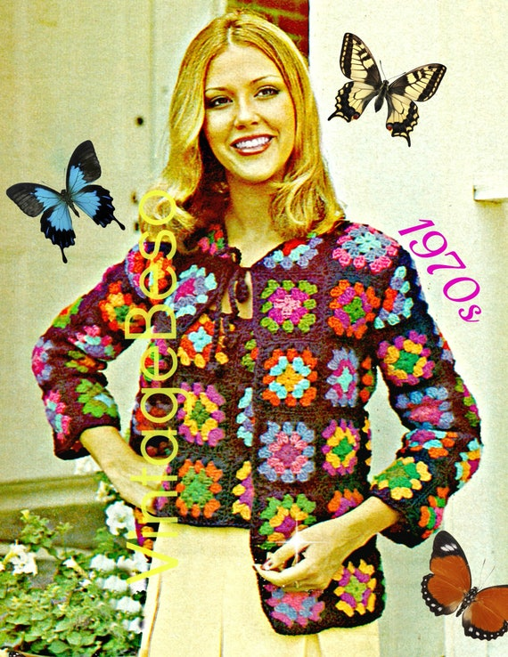 2 Patterns • 1970s Granny Square Ladies Tank Top Sweater + Cardigan • Vintage Crochet Pattern • Retro • Motif Style • Watermarked PDF Only