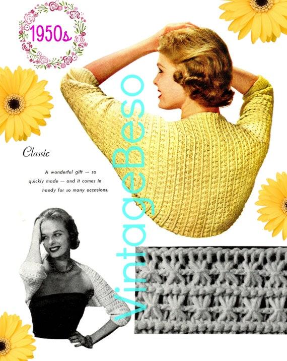 SHRUG Crochet Pattern • 1950s Crochet Pattern • Classic Shrug • Digital Download • PDF • Ladies Feminine Wrap • Tunisian Afghan Stitch