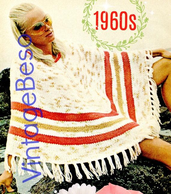 Pdf Pattern Poncho Vintage Knitting Pattern 1960s Easy Enough Etsy