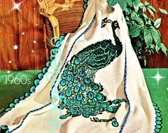 INSTANT DOWNlOAD • PdF Pattern • THE PEACOCK Afghan Crochet Pattern • 1960s Peacock Crochet Pattern Peacock Embroidery Pattern Afghan Stitch