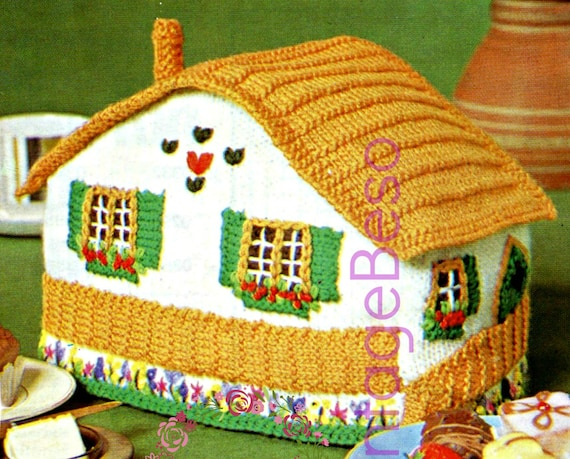 Tea Cosy Knitting Pattern • Swiss Chalet Tea Cosy • 1960s KNITTING Pattern • Tea Cozy • Switzerland • Vintage Beso • Watermarked PDF Only