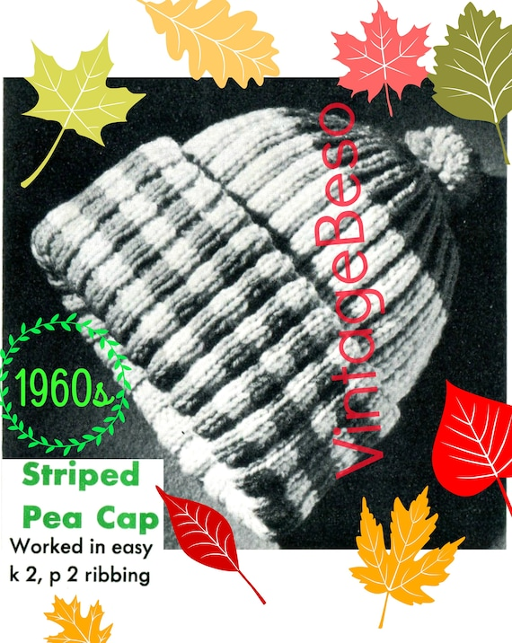 EASY Cap KNITTING Pattern • Striped Pea Cap Pattern • Vintage 1960s • Traditional Cap w PomPom • Retro Hat for Warmth • Watermarked PDF Only
