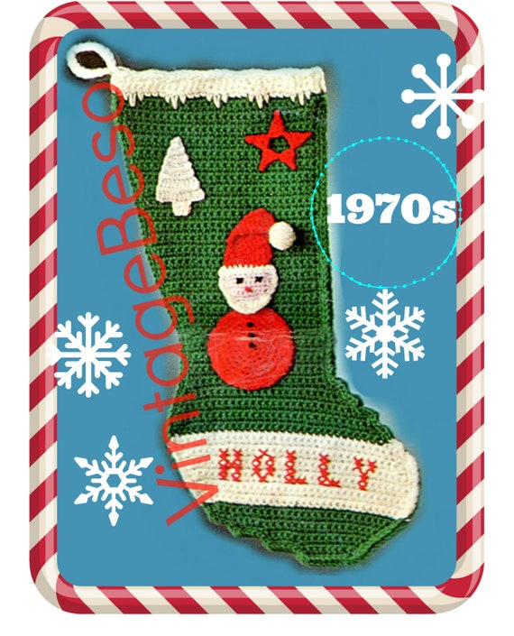 Stocking Crochet Pattern • INSTANT DOWNLOAD • PDF • Vintage Holly Santa Stocking Crochet Pattern • Retro Traditional Christmas Stocking