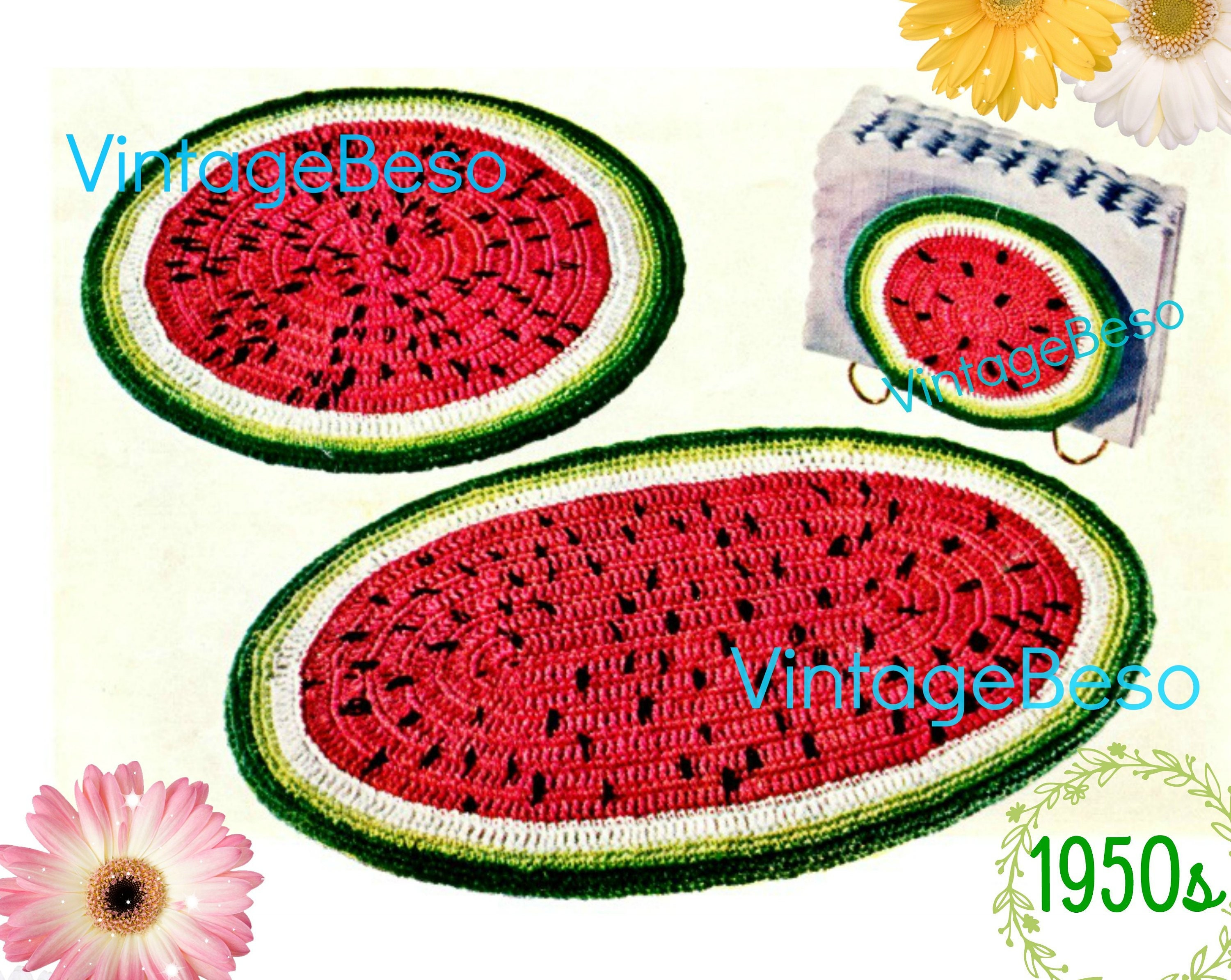Watermelon Set Crochet Pattern Hot Plate Place Mats Napkin Holder Vintage 1950s Kitchen Gift For New Home Apt Watermarked Pdf Only