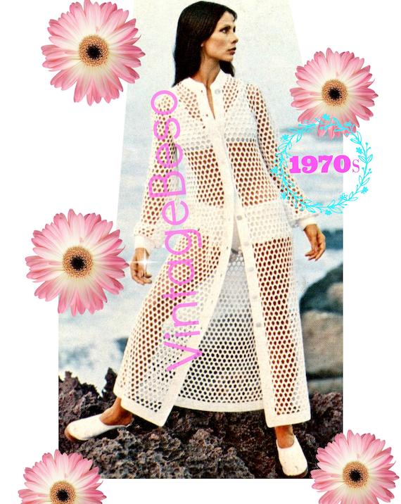 Long Beach Coat Crochet Pattern + Bikini Knitting Pattern • 1970s Vintage CROCHET Pattern • Digital • PdF • Summer Ladies Peekaboo Swimwear