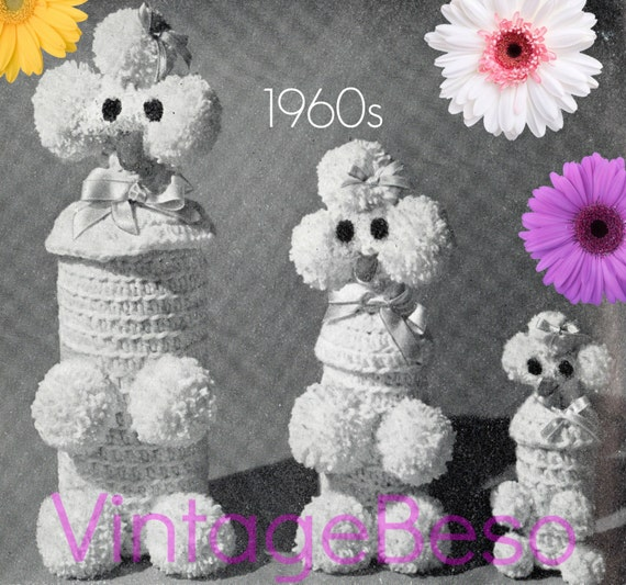 Poodle Bottle Cover Crochet Pattern • Retro 1960s Liquor PARTY Gift • Dog Pattern • Vintage Crochet Pattern • Watermarked PDF Only