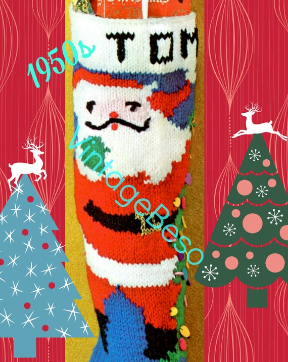 Instant Download • 1950s Stocking Knitting Pattern + Free Pattern • Vintage Christmas TOM Stocking • Columbia Minerva • Classic