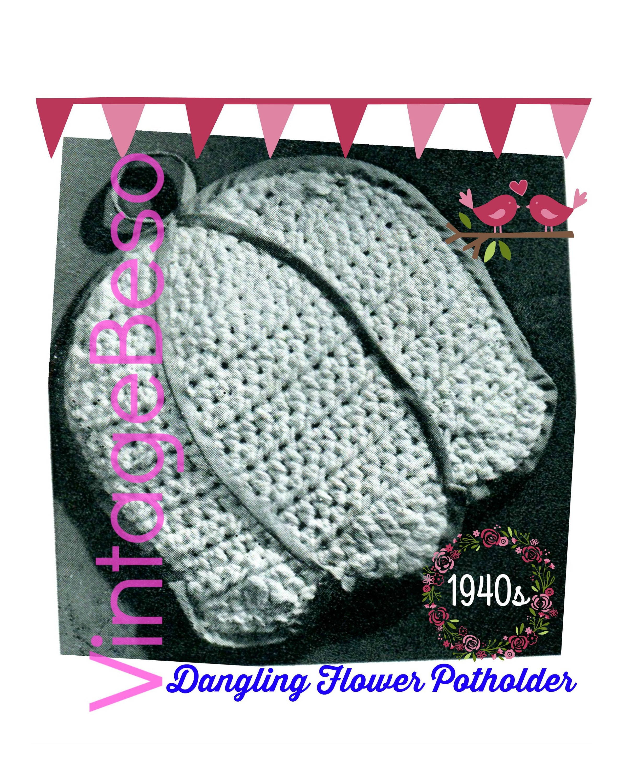 Potholder Crochet Pattern Pdf Vintage 1940s Dangling Flower Lily Of The Valley Crochet A Bell Shaped Flower Potholder