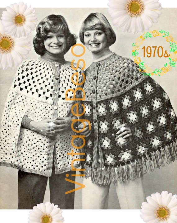 Easy CAPE Crochet Pattern • 2 BEGINNER Capes + Basics Crochet Guide • 1970s Pattern • PDF • Feminine Ladies Button Up Capes w Arm Slits