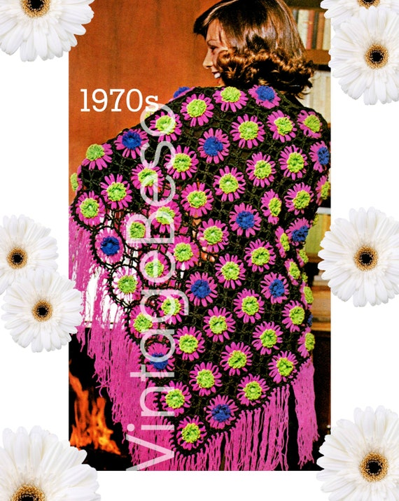 Shawl Crochet Pattern • Vintage 1970s Crochet Pattern • Ladies Hippie Shawl • Feminine • Digital Download • Watermarked PDF Only
