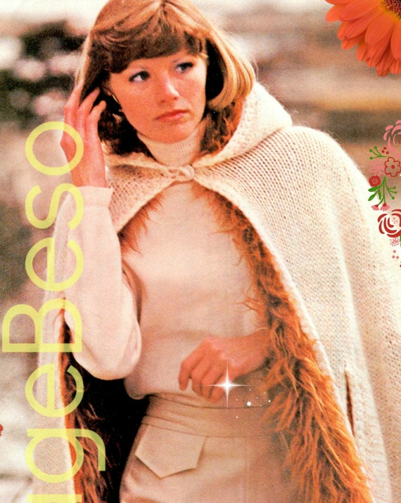 Hooded Cape KNITTING Pattern • Big FAKE Fur Hooded Cape Knitting Pattern • PDF • Vintage Knitting Pattern • Hooded Cloak • Digital Download