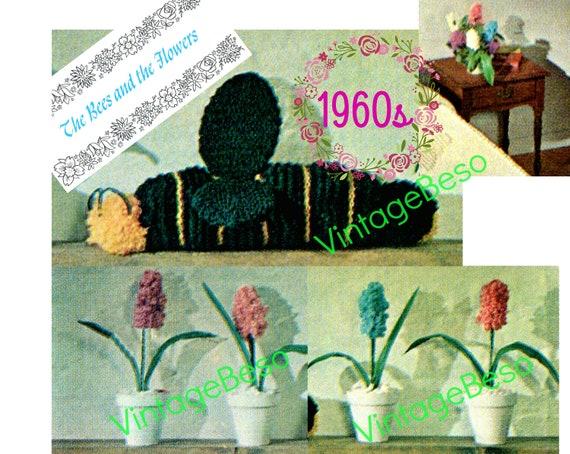 Bee Knitting Pattern + Flower Craft Pattern • Vintage 1960s Craft Instructions • The Bees Knees • Vintage 1960s Flower Arrangement