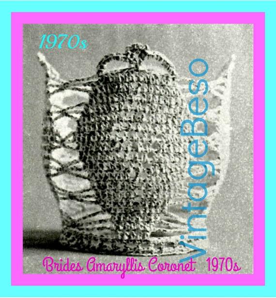 Instant Download • 1970s Brides Amaryllis Coronet Crochet Pattern Bridal Tiara Crown Cupcake Topper + FReE PAttERN • Watermarked PDF Only